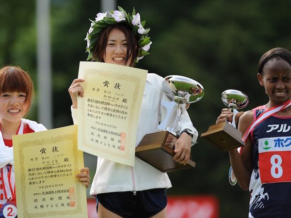 2008年札幌国際ハーフで優勝した加納由理